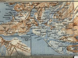 Kort af Reykjavík og nágrenni um 1909