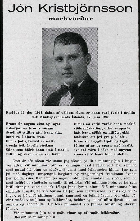 Jón Karel, minningarorð 1936