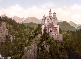 Neuschwanstein-kastali í Bavaríu, ~1900