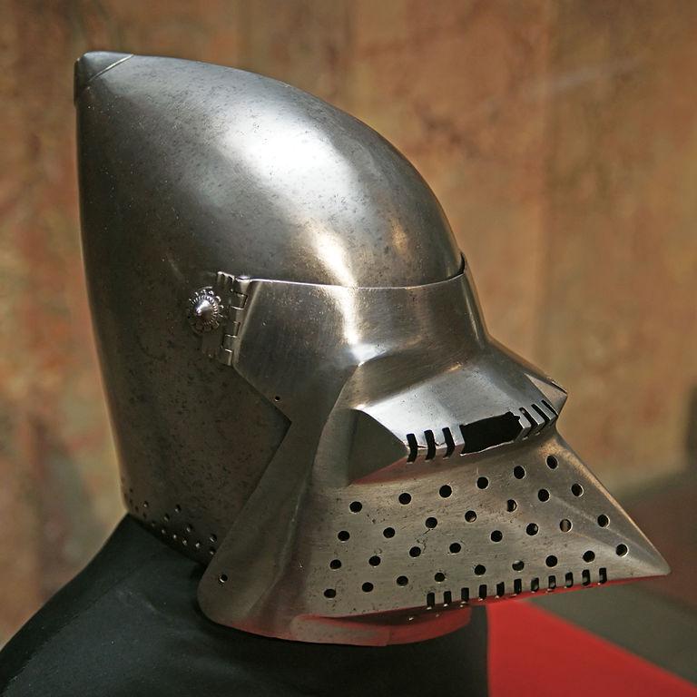 Bascinet hjálmur frá 15. öld.