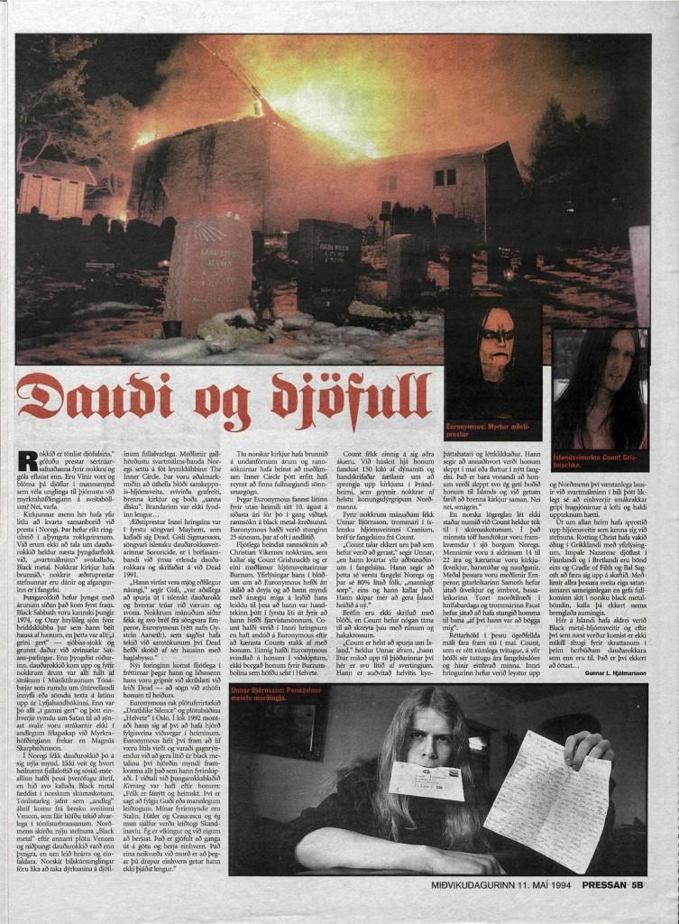 Dr. Gunni - Dauði og djöfull - Pressan 1994
