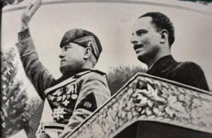 Oswald Mosley ásamt Benito Mussolini, fasistaleiðtoga Ítalíu.