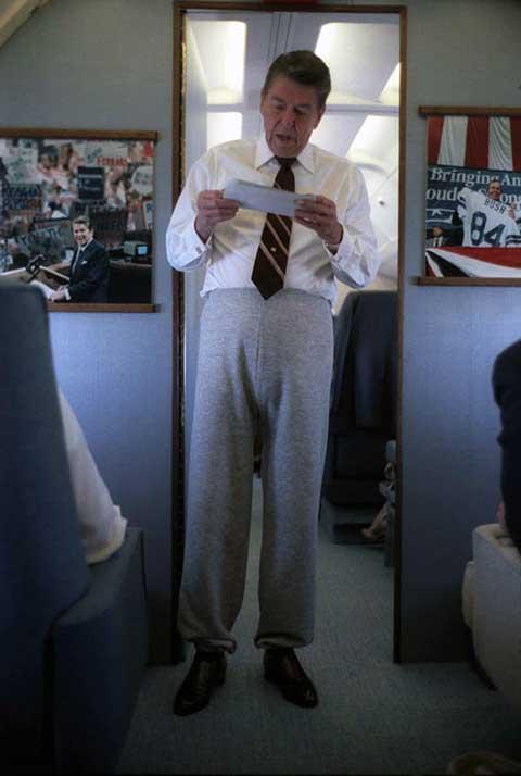 Ronald Reagan í joggingbuxum. Reagan fannst umhverfisvernd ekki merkileg.