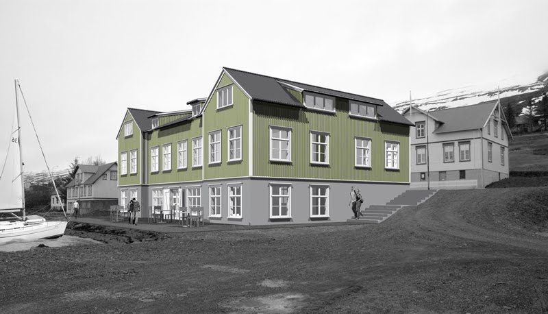 Svona mun spítalinn líta út þegar lokið verður við endurbyggingu hans. Mynd: Bergur Þorsteinsson.