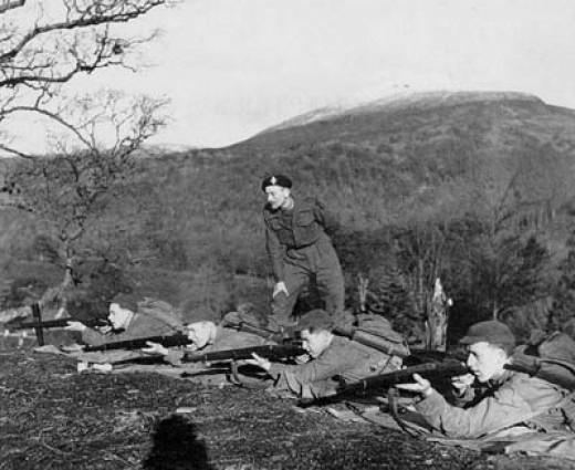 Jack Churchill ásamt mönnum sínum í Noregi.
