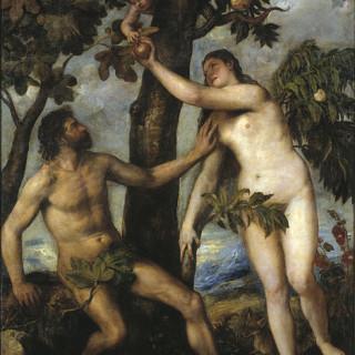"""""""Ó, nei! Ekki borða eplið Eva!"""" Málverk eftir ítalska málarann Titian frá 16. öld."""