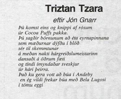 Ljóð eftir Jón Gnarr, Þjóðviljinn 1987.
