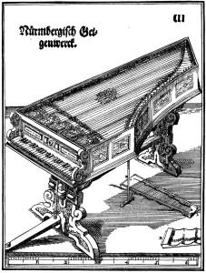 Teikning af víóluorgeli eftir Hans Haiden, frá árinu 1575.