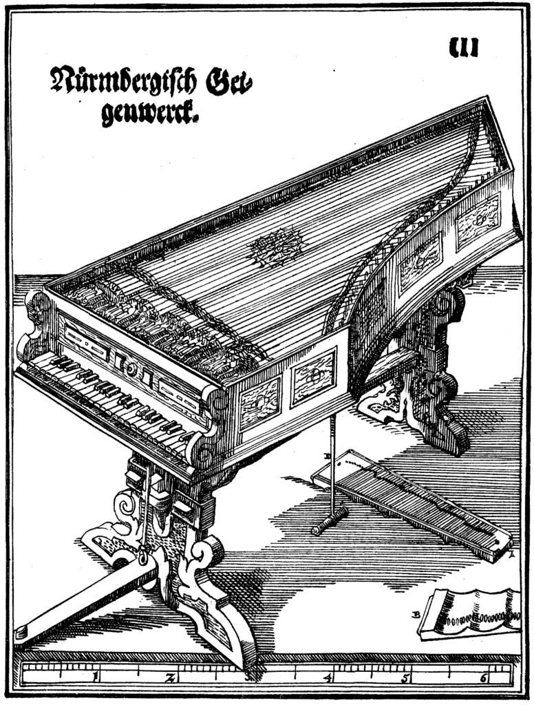 Teikning af víóluorgeli eftir Hans Hyden, frá árinu 1575.