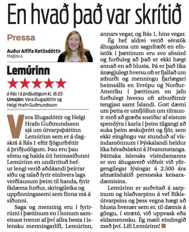 Þáttur Lemúrsins á Rás 1 fær fimm stjörnur