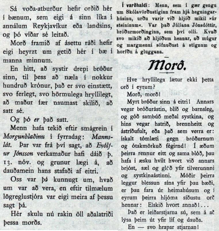 Úrklippur úr Morgunblaðinu þessa daga.