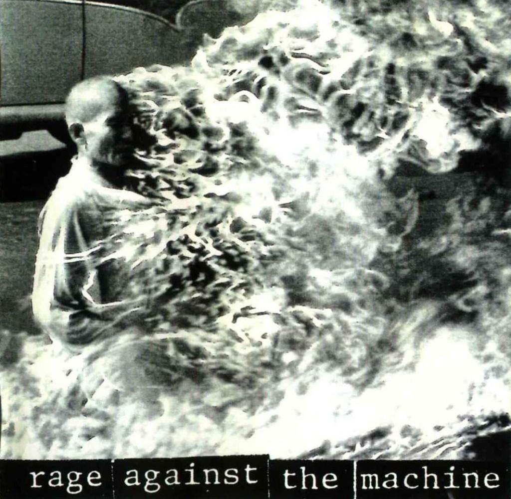 Framhliðin á fyrstu breiðskífu hljómsveitarinnar Rage Against The Machine frá árinu 1992.