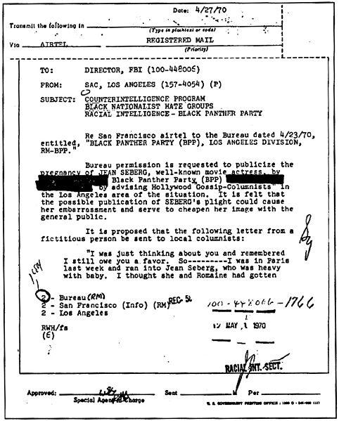 Minnisblað FBI um Seberg.
