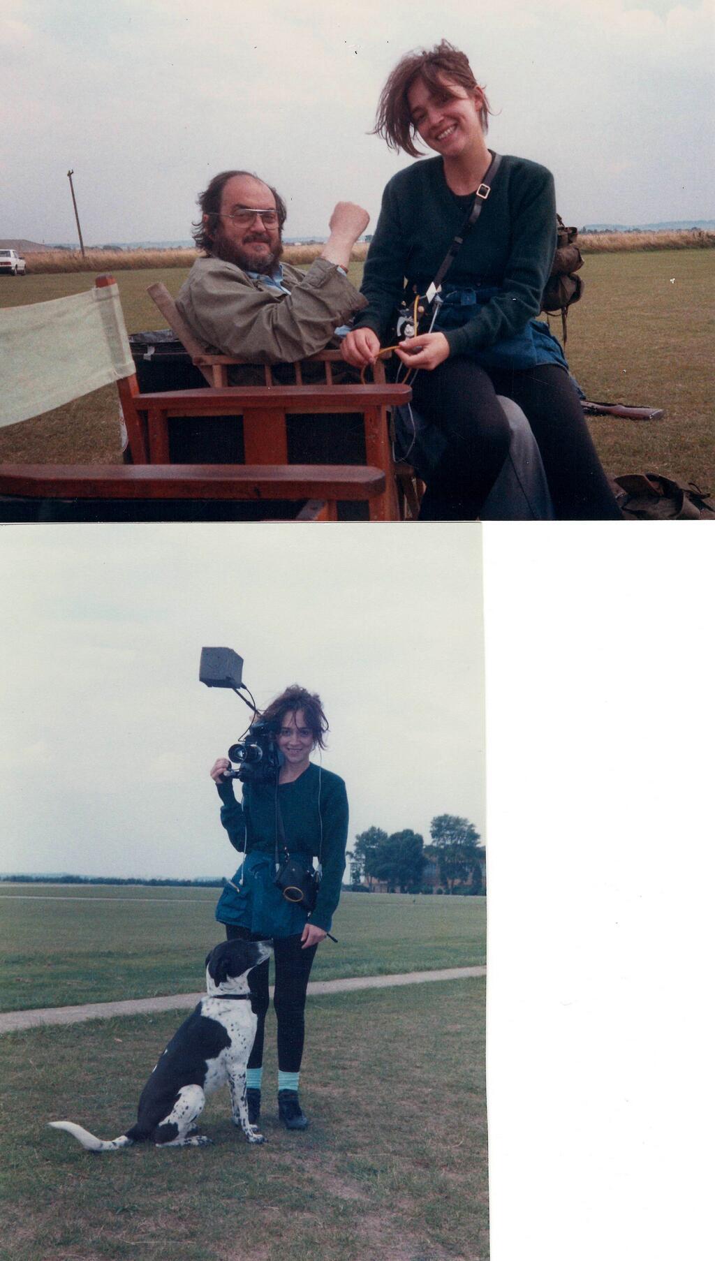 Stanley Kubrick og Vivian á settinu við tökur á Full Metal Jacket. Neðri myndin sýnir Vivian ásamt hundi sínum Fanny. Árið er 1986.
