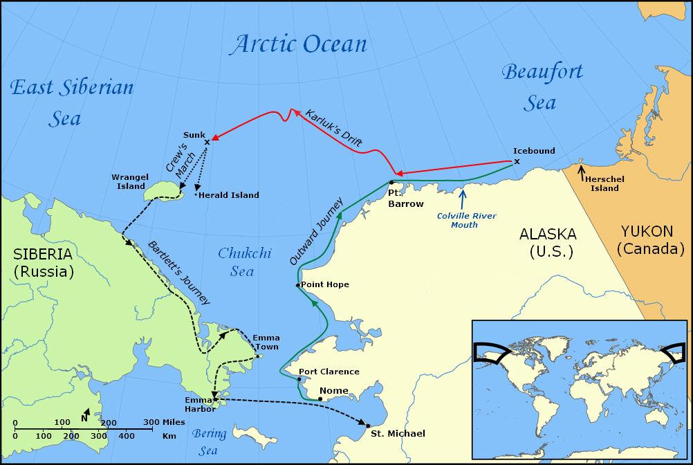 Ferð Karluks. Mynd: Wikipedia.
