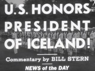 Forseti nýja lýðveldisins Íslands hittir Franklin D. Roosevelt