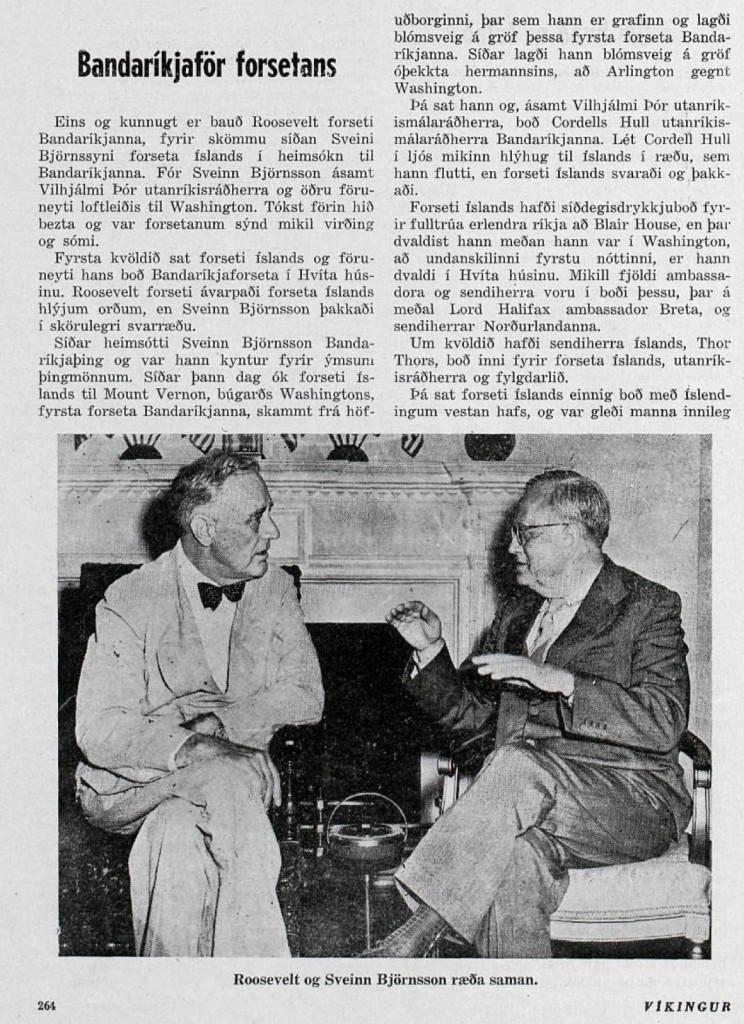 Roosevelt og Sveinn Björnsson að tali.