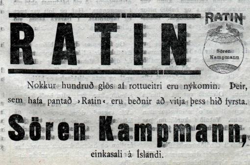 Ratin-auglýsing í Morgunblaðinu, 23. október 1918.