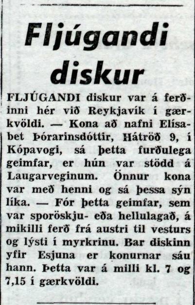 Fljúgandi diskur í Reykjavík, 1954