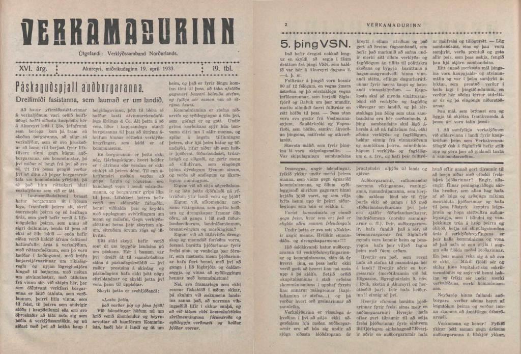 Verkamaðurinn, 1933