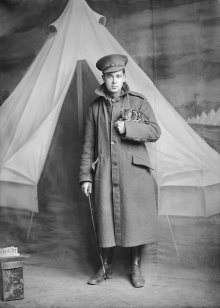 Þessi ástralski hermaður lét taka mynd af sér með kettlingnum sínum áður en hann hélt í stríðið. (Australian War Memorial).
