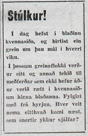 Kvennasíða Mánudagsblaðsins
