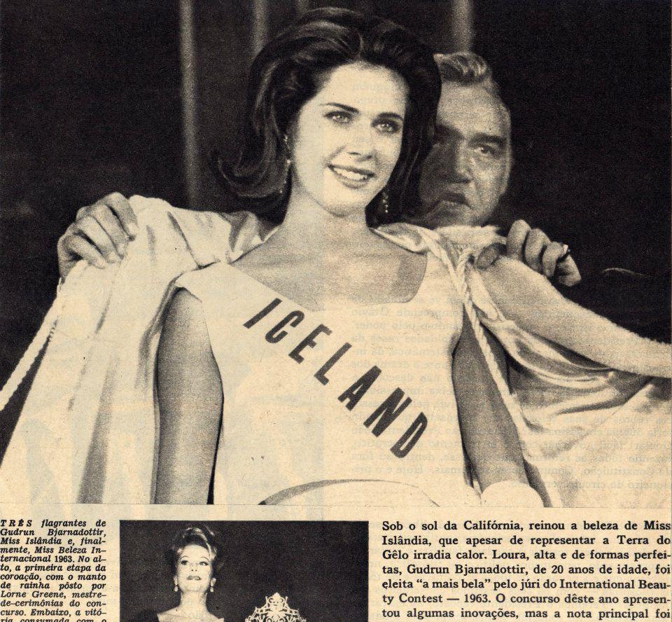 Leikarinn Lorne Greene krýnir Guðrúnu sem ungfrú alheimur 1963