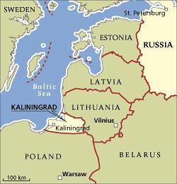 Kalíningrad oblast liggur milli Litháens og Póllands.