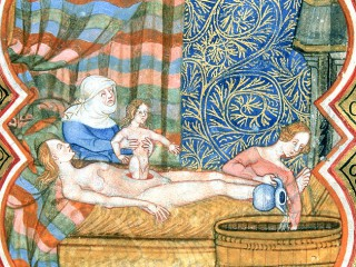 Barnsfæðing árið 1490