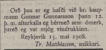 Ísafold, maí 1908.