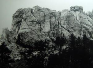 Mt. Rushmore áður en forsetarnir komu þangað.