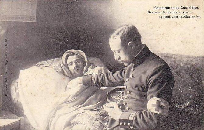 Auguste Berthau eða Berthon þann 5. apríl 1906 eftir að hafa dvalið í 25 sólahringa samfellt neðanjarðar án matar né drykkjar.
