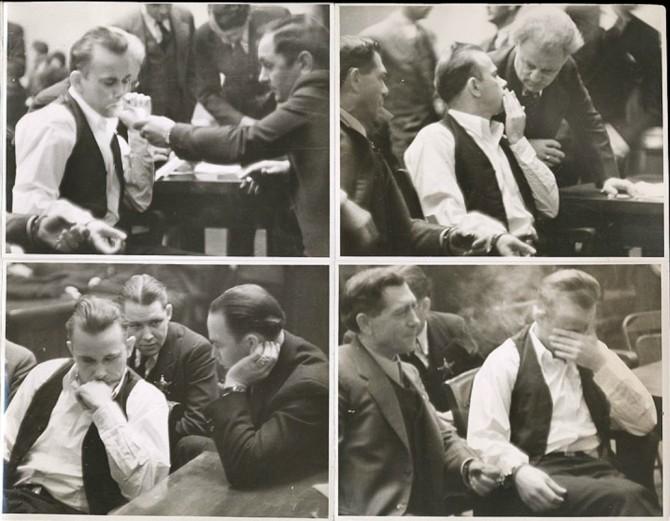 Bankaræninginn John Dillinger í réttarsalnum, 1934