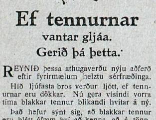 """Pepsodent: """"Ef tennurnar vantar gljáa"""""""