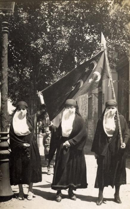 Mótmælendur í Kairó árið 1919