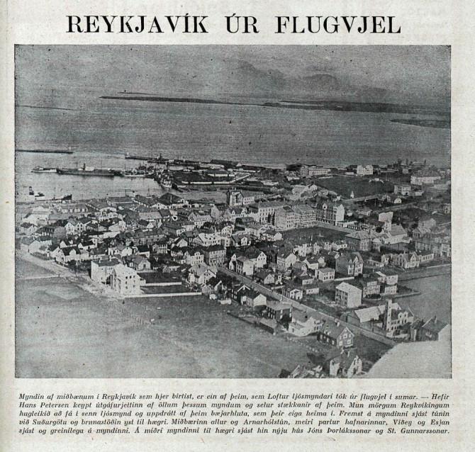 """""""Reykjavík úr flugvjel"""": Loftmynd Lofts frá 1928"""
