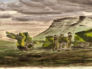 Vatnsmálverk af heræfingu Breta við Lágafell sumarið 1941