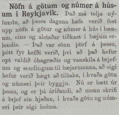 Götunöfn fyrst notuð í Reykjavík, 1888