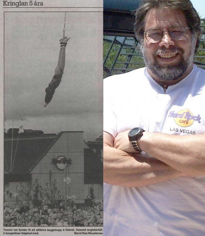 Steve Wozniak, stofnandi Apple, var annar maðurinn til að fara í teygjustökk á Íslandi