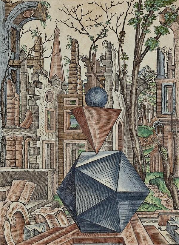 Draumkenndar rúmfræðimyndir Lorenz Stöer, 1567