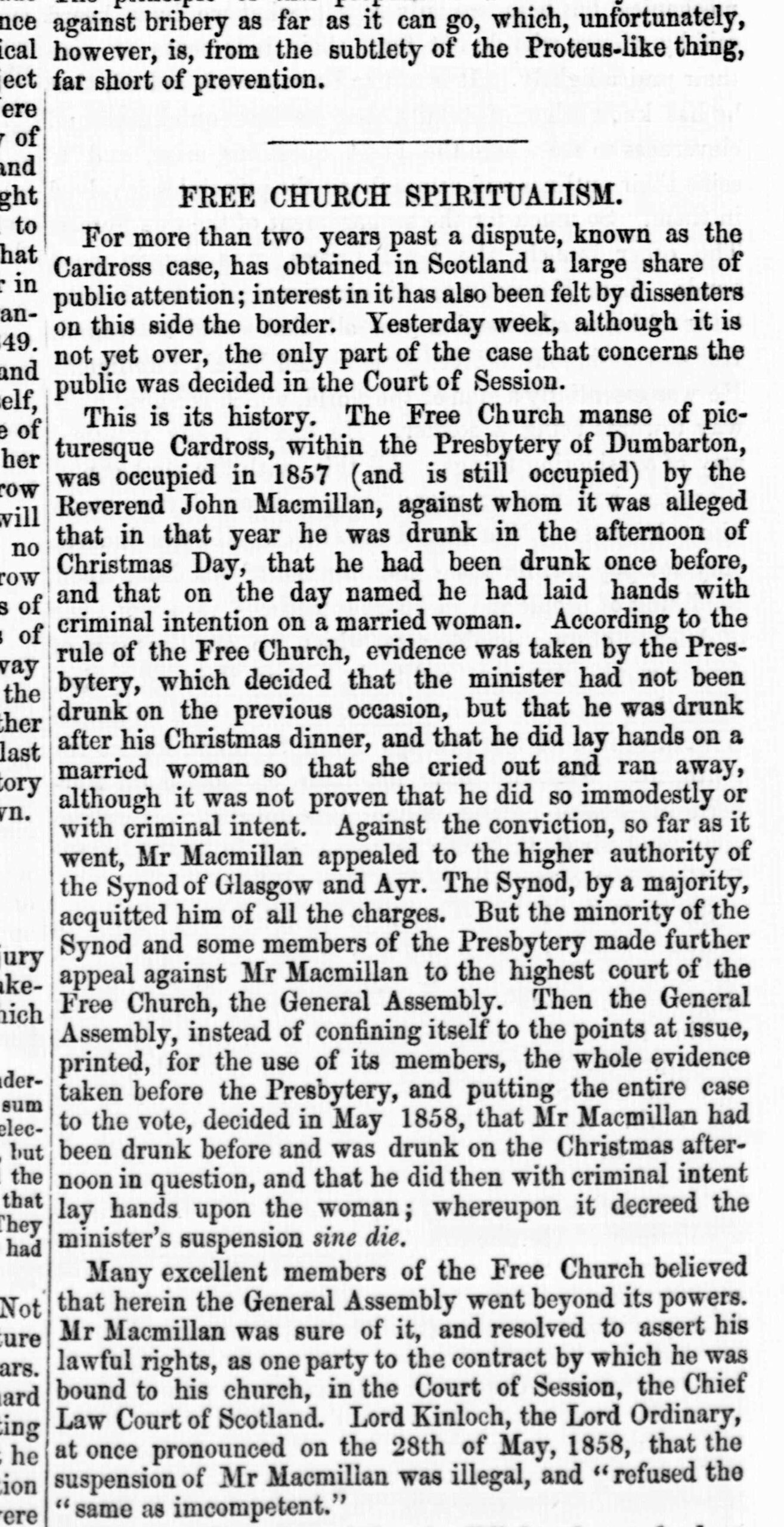 Umfjöllun um Cardross-málið í The Examiner í júlí 1861