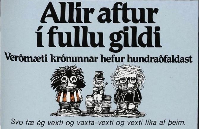 Þegar verðgildi íslensku krónunnar hundraðfaldaðist
