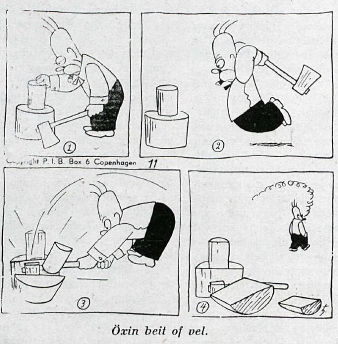 Hómer Simpson í íslensku blaði árið 1949