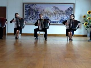 Norðurkóreskur harmónikkukvintett spilar Take On Me