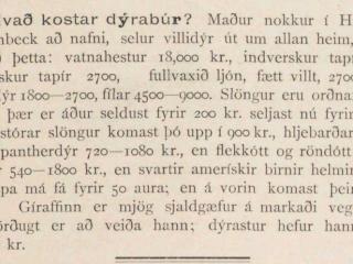 Verð villidýra árið 1896